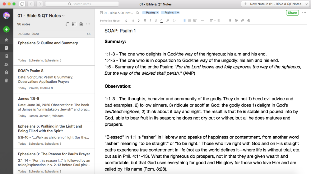 A desktop view of the Evernote app.